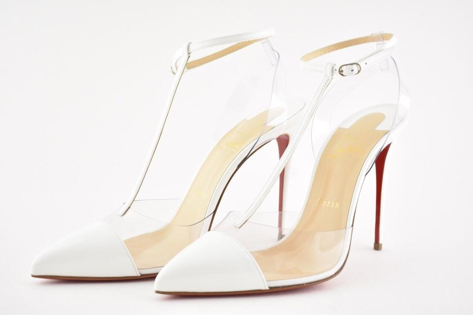 796c4932d2b Christian Louboutin White Nosy 100 Latte Pvc Transparent T Strap Ankle  Patent Leather Heel Pumps Size EU 37 (Approx. US 7) Regular (M, B)