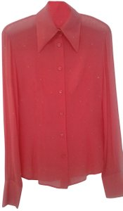 Votre Nom Silk Long Sleeves Buttoned Down Swarovsky Crystalls Classic Collar Top coral