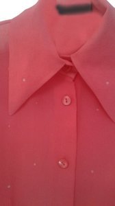 Votre Nom Silk Long Sleeves Buttoned Down Swarovsky Crystalls Classic Collar Top pink