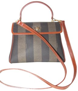 Fendi Brown Mint Vintage Two-way Style Satchel in wide striped 'pequin' print coated canvas and burnt orange leather