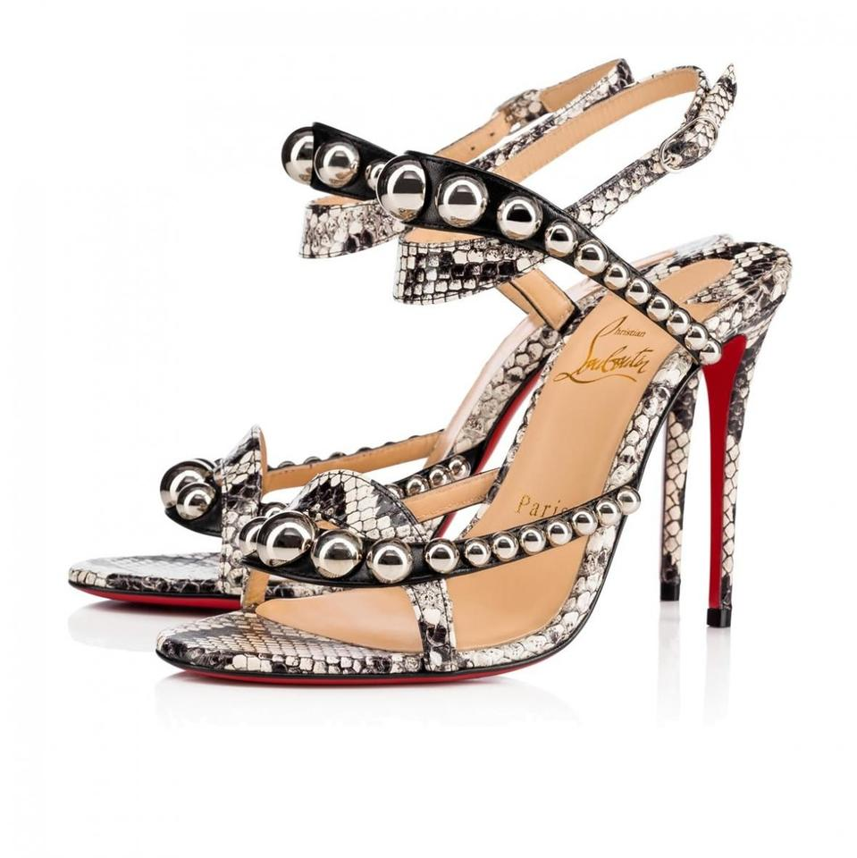 pretty nice 51fdd 4ad08 Christian Louboutin Black Galeria 100 Roccia Grey Silver Stud Snakeskin  Ankle Strap Sandal Heel Pumps Size EU 36 (Approx. US 6) Regular (M, B)
