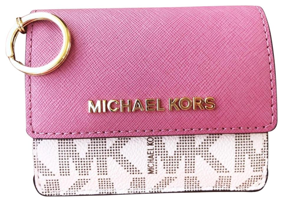 634a0bed2770 Michael Kors Michael Kors Jet Set Card Holder Key Ring Chain ID Vanilla  Tulip Image 0 ...