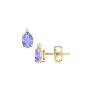 DesignerByVeronica Cubic Zirconia and Created Tanzanite Stud Earrings Yellow Gold Vermeil