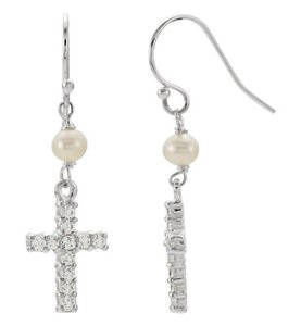 Apples of Gold FRESHWATER PEARL AND CROSS CZ EARRINGS IN SILVER