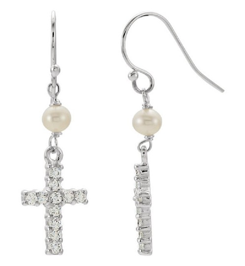 Apples of Gold FRESHWATER PEARL AND CROSS CZ EARRINGS IN SILVER Image 1