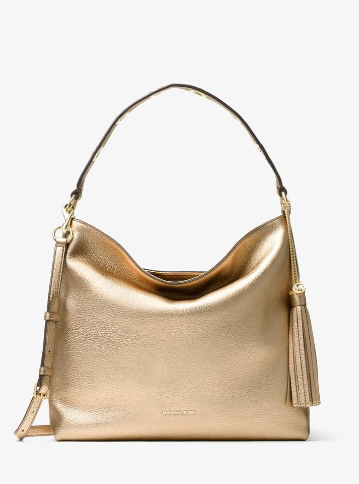 e31c4dfea25d Michael Kors Brooklyn Large Metallic Pale Gold Leather Shoulder Bag ...