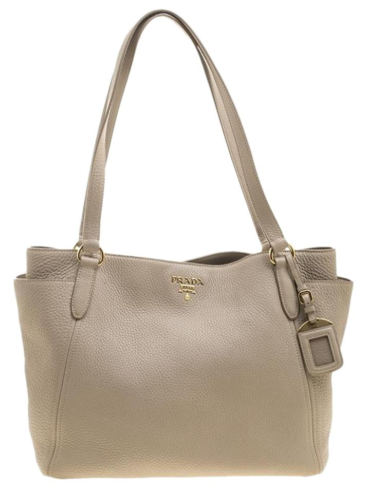 Daino Prada Shopper Tote Vitello Beige Leather 00wRH