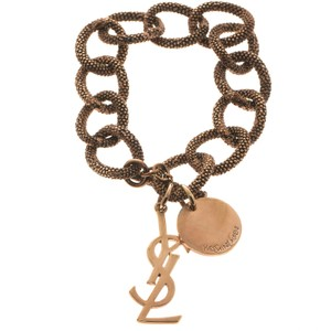 Saint Laurent Paris Logo Rose Gold Tone Chain Link Toggle Bracelet