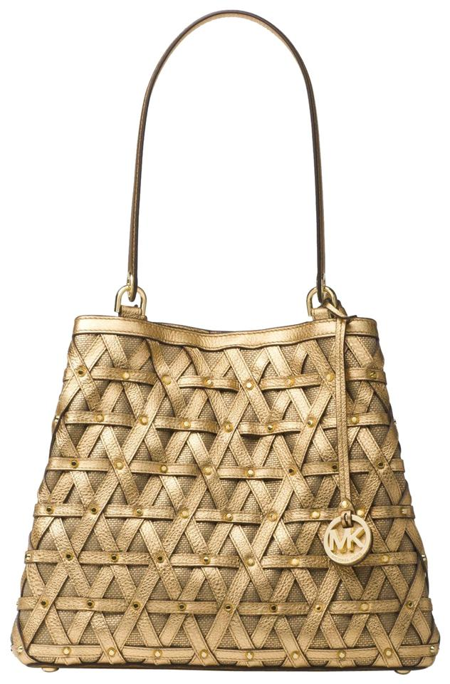 3cb3e70a9fe89b Michael Kors Brooklyn Large Metallic And Gold Leather/Canvas Tote ...