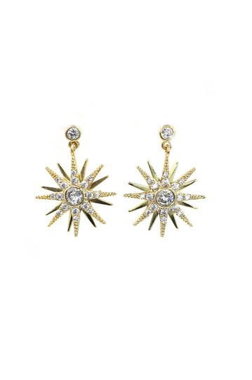 Ocean Fashion Fashion small gold crystal pendant hexagram earrings Image 0