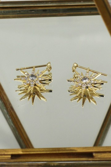 Ocean Fashion Fashion small gold crystal pendant hexagram earrings Image 1