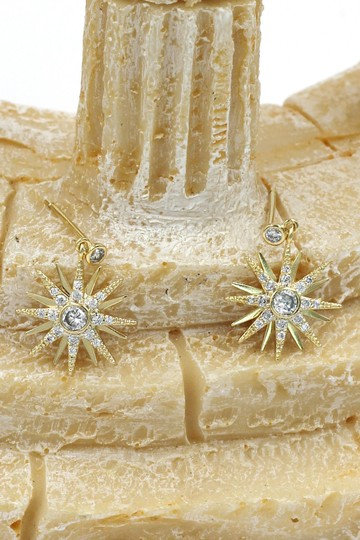 Ocean Fashion Fashion small gold crystal pendant hexagram earrings Image 2