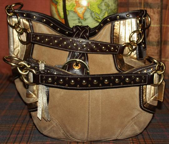 Coach Studded Suede Leather Hobo Bag