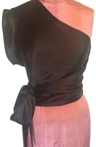CoSTUME NATIONAL One Shoulder Top Chocolate Brown
