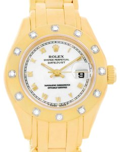 Rolex Rolex Pearlmaster Yellow Gold White Dial Diamond Ladies Watch 69318