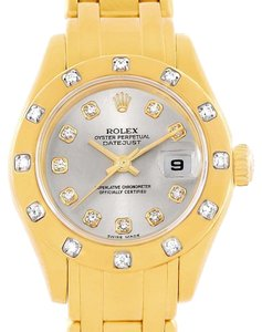 Rolex Rolex Pearlmaster Yellow Gold Diamond Dial Bezel Ladies Watch 80318