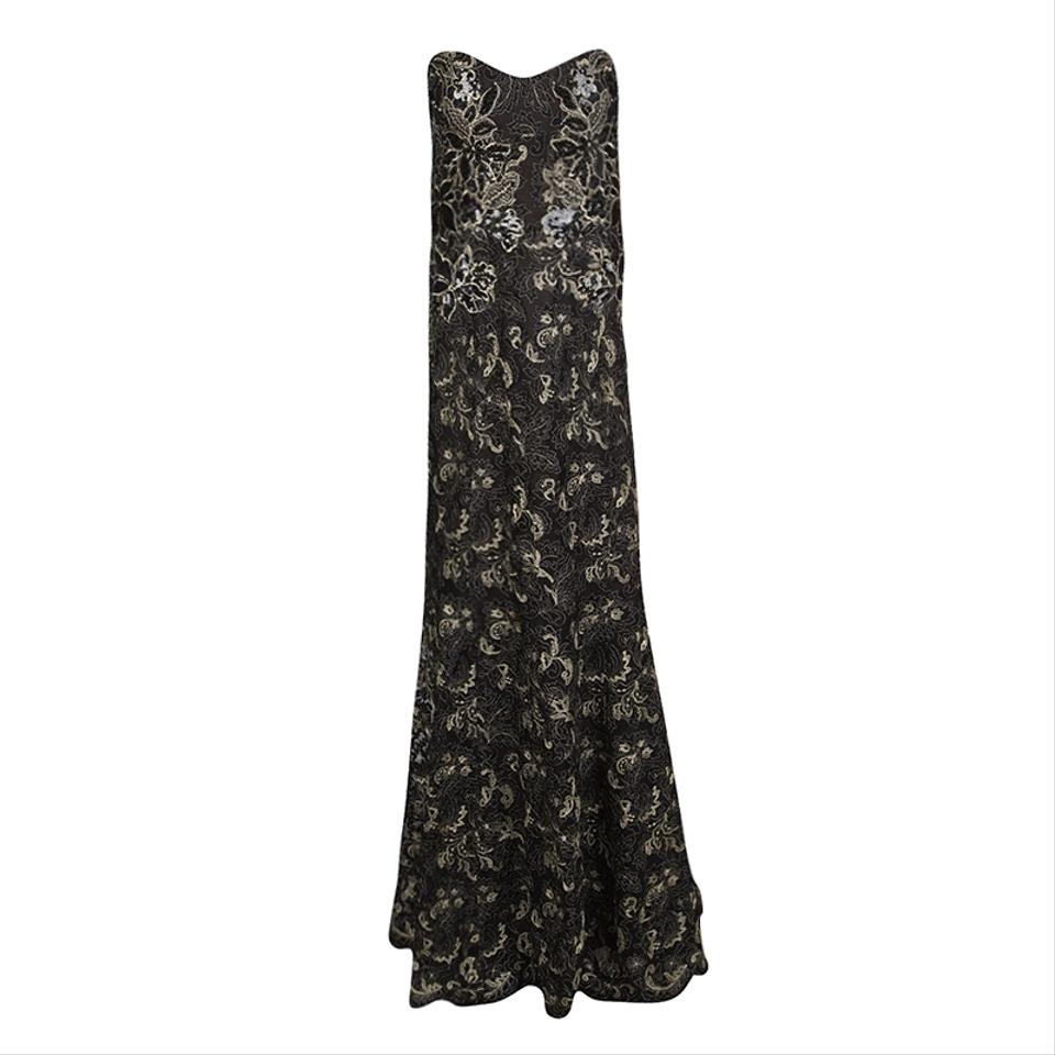 181e75eef39e Marchesa Notte Black Sequined Metallic Lace Strapless Gown Formal Dress