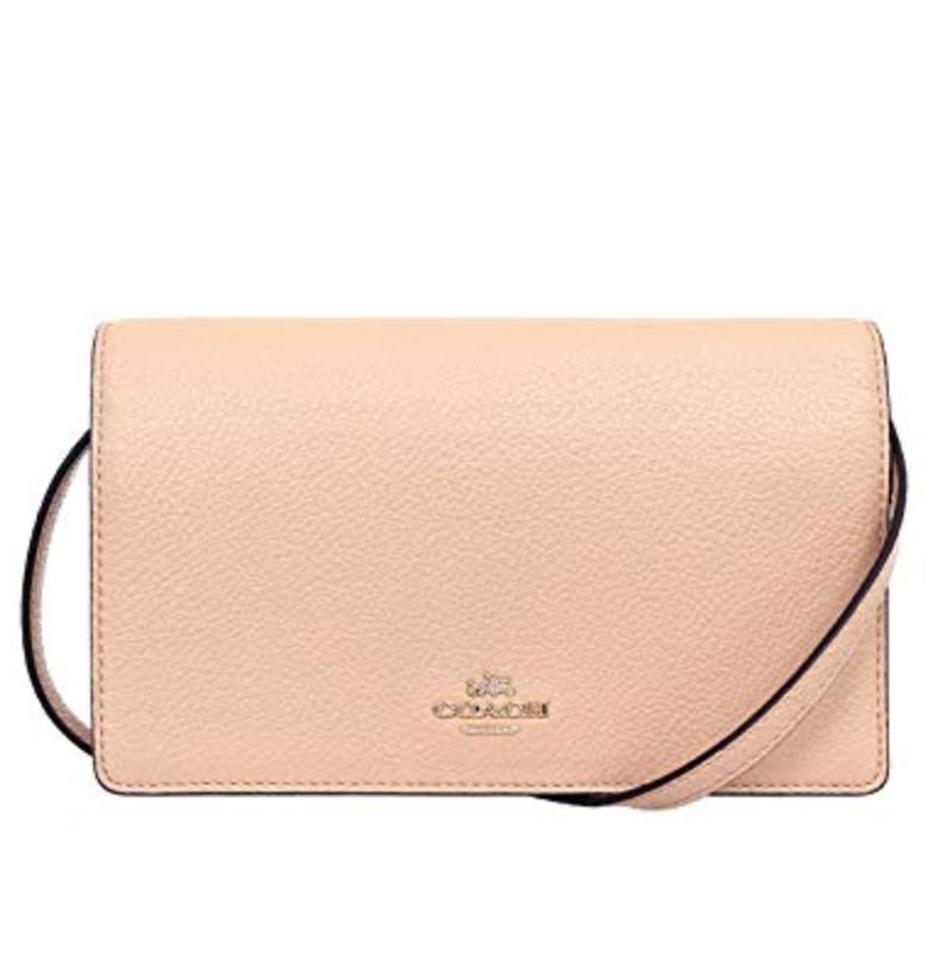 59814fc95bcc Coach Foldover Clutch In Pebble 54002 Nude Pink Leather Cross Body ...