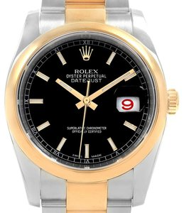 Rolex Rolex Datejust Steel Yellow Gold Black Dial Mens Watch 116203 Box Card