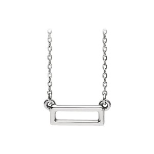 DesignerByVeronica 925 Sterling Silver Open Rectangle Bar Fashion Necklace