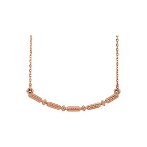 DesignerByVeronica Rose Gold Vermeil Beaded Bar Necklace Fashion Jewelry