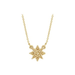 DesignerByVeronica Yellow Gold Vermeil Star Necklace with Matching Chain
