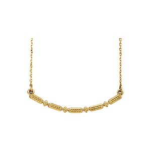 DesignerByVeronica Yellow Gold Vermeil Beaded Bar Necklace Fashion Jewelry