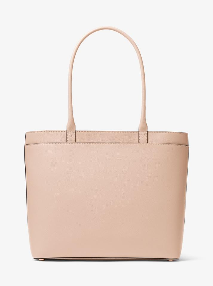 7ed9c72f397a Michael Kors Maddie Large Crossgrain Soft Pink Leather Tote - Tradesy