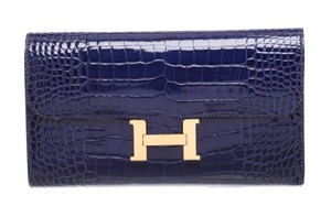 Hermès Hermes Bleu Saphir Alligator With Bluer Constance Wallet GHW 483829