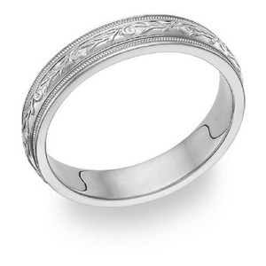 Apples of Gold Carved Sterling Silver Paisley Band Ring