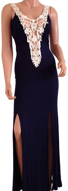 Item - Blue And Ivory Long Casual Maxi Dress Size 4 (S)