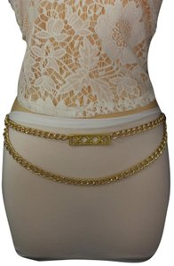 Alwaystyle4you Gold Metal Chain Links Women Belt Long Plate Charms Hip Waist S-M