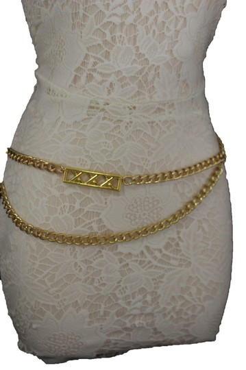 Alwaystyle4you Gold Metal Chain Links Women Belt Long Plate Charms Hip Waist S-M Image 1