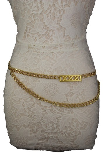 Alwaystyle4you Gold Metal Chain Links Women Belt Long Plate Charms Hip Waist S-M Image 2