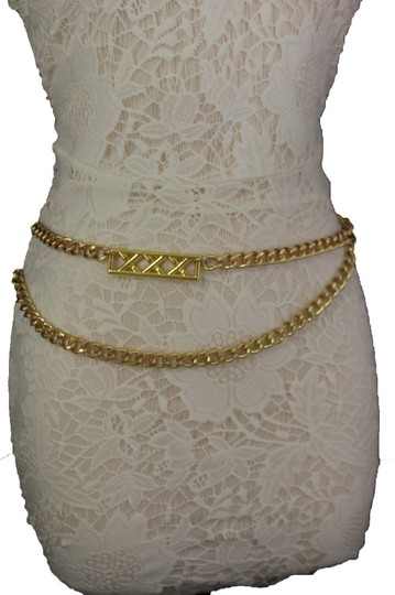 Alwaystyle4you Gold Metal Chain Links Women Belt Long Plate Charms Hip Waist S-M Image 3