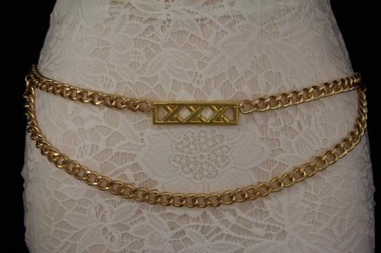 Alwaystyle4you Gold Metal Chain Links Women Belt Long Plate Charms Hip Waist S-M Image 4