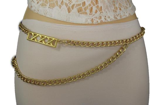 Alwaystyle4you Gold Metal Chain Links Women Belt Long Plate Charms Hip Waist S-M Image 6
