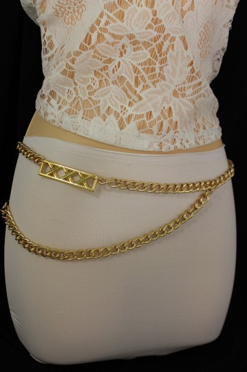 Alwaystyle4you Gold Metal Chain Links Women Belt Long Plate Charms Hip Waist S-M Image 7