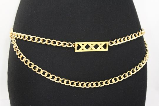 Alwaystyle4you Gold Metal Chain Links Women Belt Long Plate Charms Hip Waist S-M Image 8