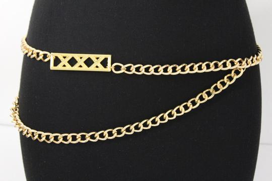 Alwaystyle4you Gold Metal Chain Links Women Belt Long Plate Charms Hip Waist L-XL Image 1