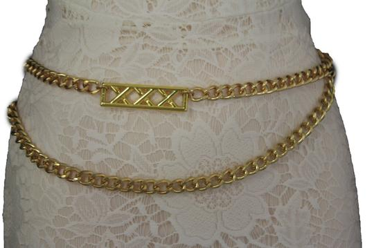 Alwaystyle4you Gold Metal Chain Links Women Belt Long Plate Charms Hip Waist L-XL Image 2