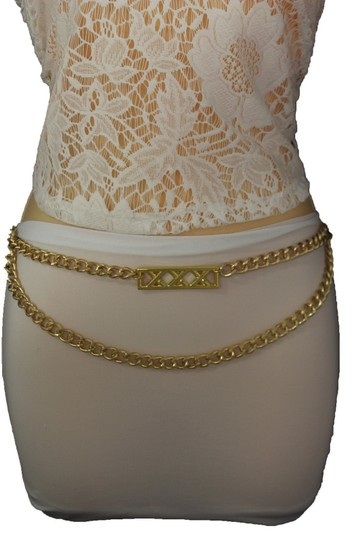 Alwaystyle4you Gold Metal Chain Links Women Belt Long Plate Charms Hip Waist L-XL Image 7