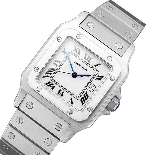 Preload https://img-static.tradesy.com/item/23690130/cartier-white-santos-automatique-mens-bracelet-stainless-steel-watch-0-1-540-540.jpg