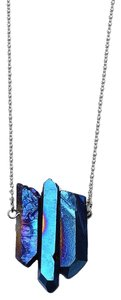 Private Collection Blue Druzy Natural Stone Pendant Necklace