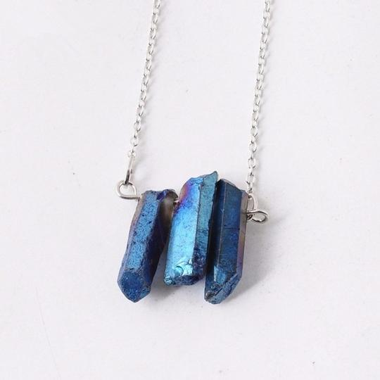 Private Collection Blue Druzy Natural Stone Pendant Necklace Image 1