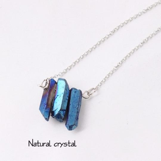 Private Collection Blue Druzy Natural Stone Pendant Necklace Image 3