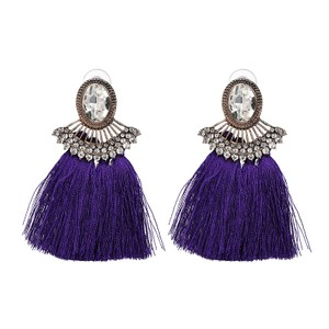 Private Collection Purple Tassel Crystal Statement Earrings