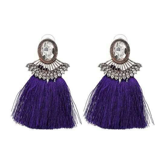 Private Collection Purple Tassel Crystal Statement Earrings Image 1