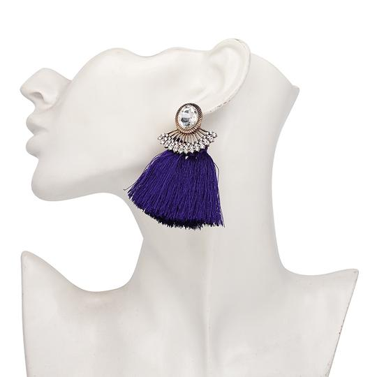 Private Collection Purple Tassel Crystal Statement Earrings Image 2