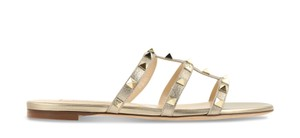 Valentino Rockstud Metallic Slide Flat gold Sandals